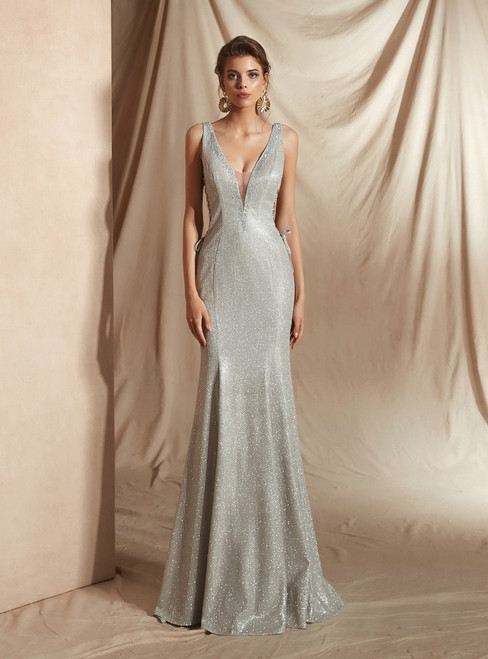 Silver Mermaid Deep V-neck Backless Lace Up Long Prom Dress