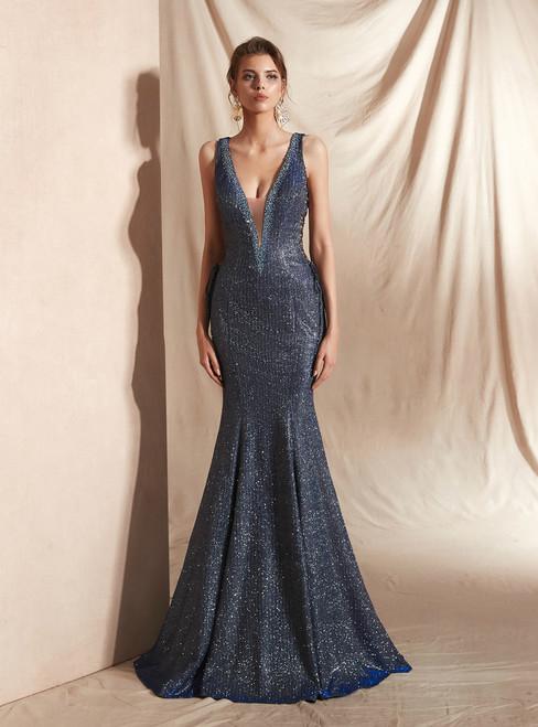 Blue Mermaid Deep V-neck Backless Lace Up Long Prom Dress
