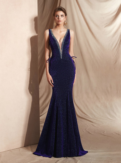 Purple Mermaid Deep V-neck Backless Lace Up Long Prom Dress