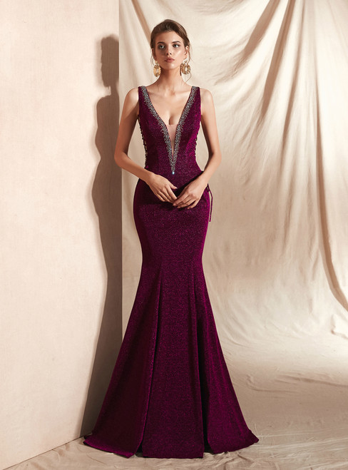 Sexy Purple Mermaid Deep V-neck Backless Lace Up Long Prom Dress