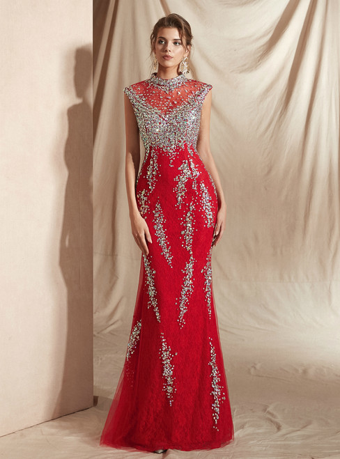 Red Mermaid Lace High Neck See Through Prom Dress With Crystal