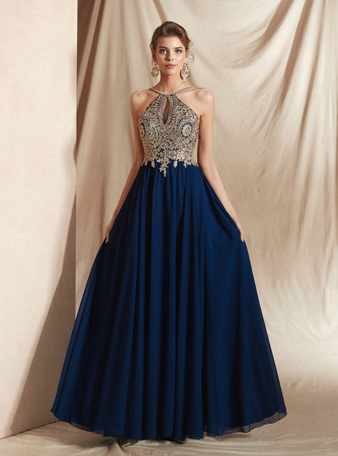 A-Line Navy Blue Chiffon Halter Backless Appliques Long Prom Dress