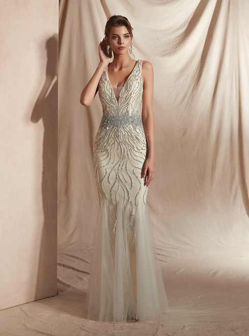 Champagne Mermaid Tulle V-neck Backless Prom Dress With Beading