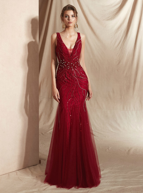 Burgundy Mermaid Tulle V-neck Backless Prom Dress With Beading