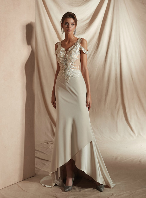 Simple Champagne Sheath Satin V-neck Appliques Wedding Dress