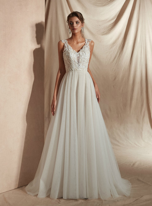 A-Line Tulle V-neck Appliques See Through Back Wedding Dress With Pearls