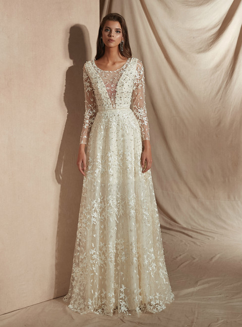 A-Line Champagne Tulle Lace Long Sleeve See Through Wedding Dress