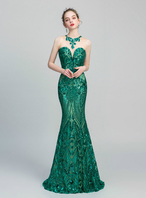 Green Mermaid Sequins Scoop Backless Long Prom Dress