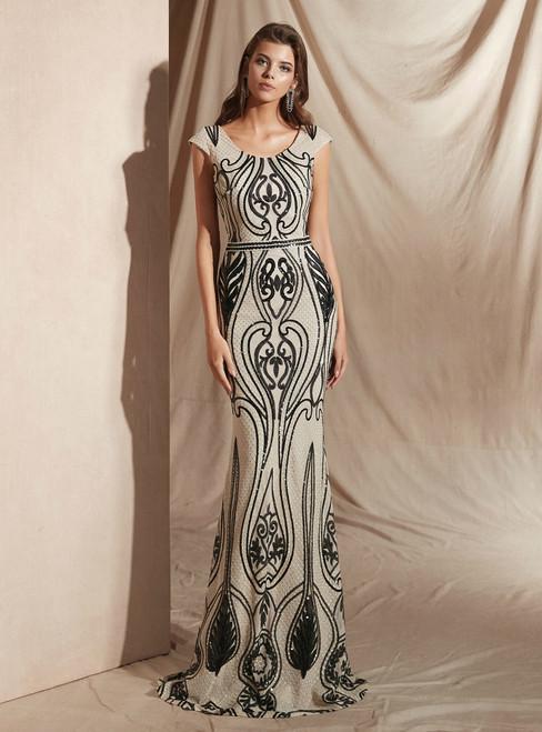 Champagne Mermaid And Black Sequins Scoop Cap Sleeve Prom Dress