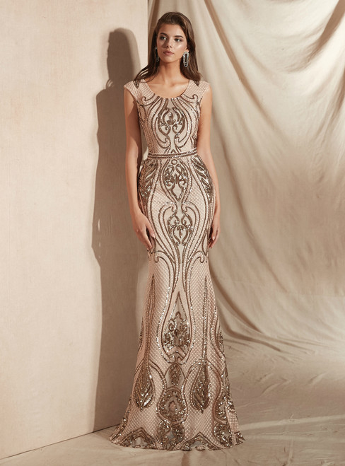 Champagne Mermaid And Gold Sequins Scoop Cap Sleeve Prom Dress