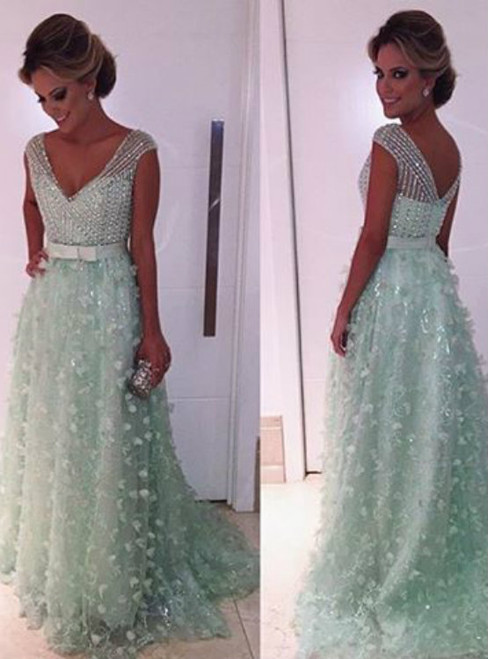 Mint Green Prom Dress Ball Gown Prom Dress Princess Prom Gown Beaded Prom Dresses