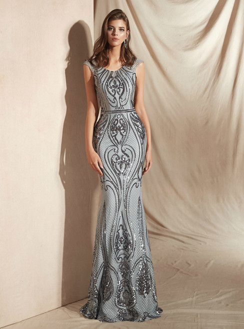 Silver Gray Mermaid Sequins Scoop Cap Sleeve Prom Dress