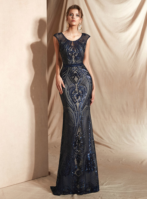 Sexy Blue Mermaid Sequins Scoop Cap Sleeve Prom Dress