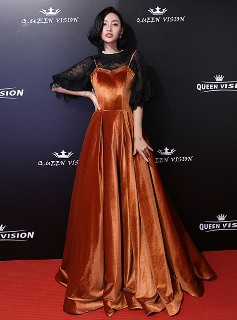 In Stock:Ship in 48 Hours Orange Velvet Lace Puff Sleeve Prom Dress