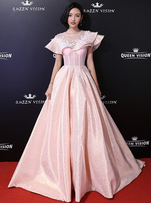 In Stock:Ship in 48 Hours Pink Satin Flying Sleeve Appliques Prom Dress