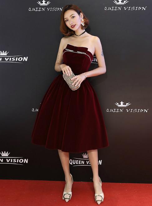 In Stock:Ship in 48 Hours Burgundy Velvet Strapless Homeoming Dress