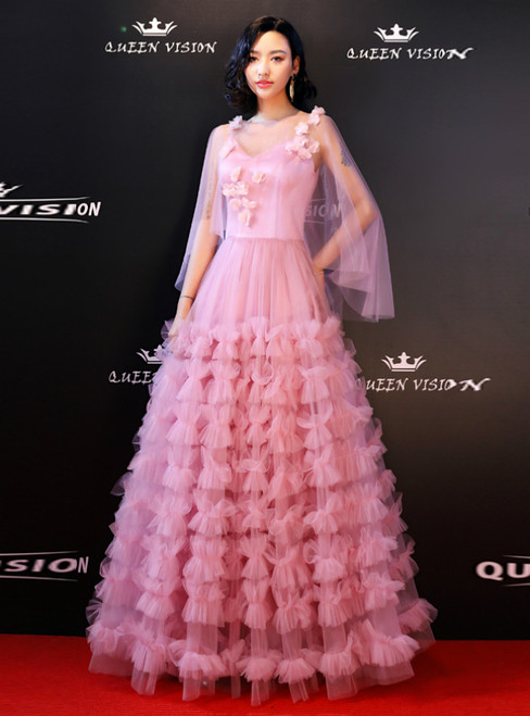 In Stock:Ship in 48 Hours Pink Tulle V-neck Backless Prom Dress