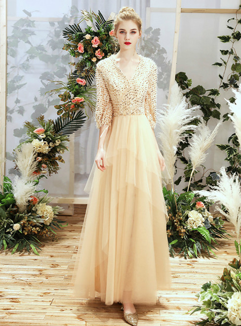 In Stock:Ship in 48 Hours Champagne Tulle V-neck Half Sleeve Bridesmaid Dress