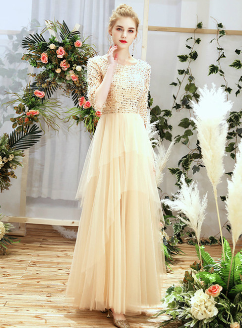 In Stock:Ship in 48 Hours Champagne Tulle Sequins Bateau Half Sleeve Bridesmaid Dress