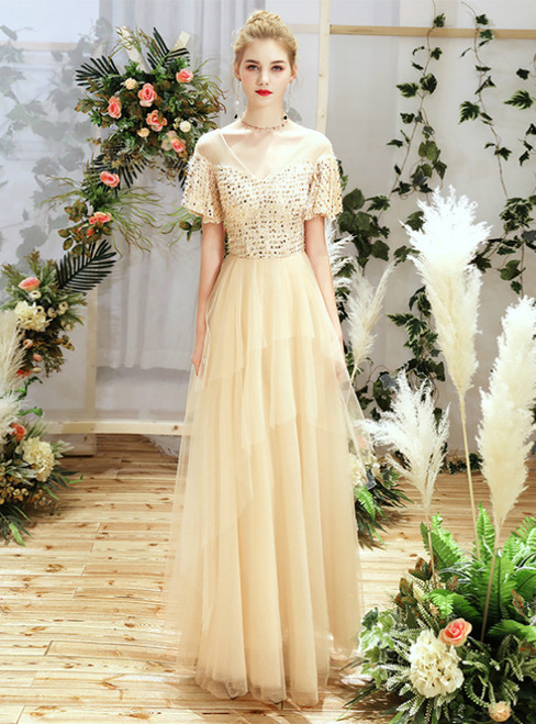 In Stock:Ship in 48 Hours Champagne Tulle Sequins V-neck Short Sleeve Bridesmaid Dress