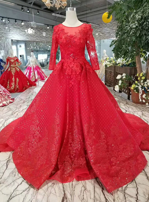 Red Ball Gown Tulle Sequins Appliques Long Sleeve Wedding Dress With Train