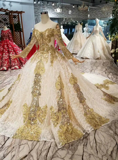 Light Champagne Tulle Sequins Appliques Off The Shoulder Long Sleeve Wedding Dress