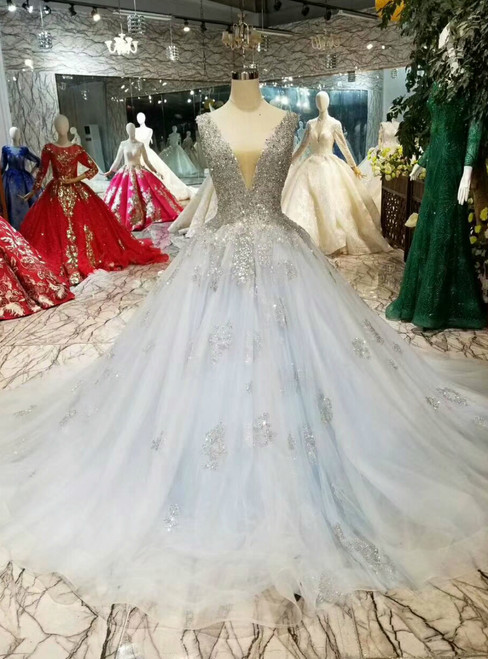 Blue Ball Gown Tulle Sequins Deep V-neck Backless Wedding Dress