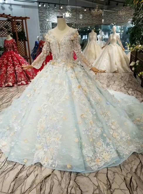 Blue Ball Gown Scoop Long Sleeve Appliques Hand Flower Wedding Dress