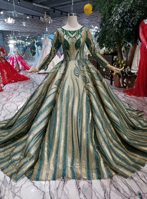 Ball Gown Green And Gold Sequins Bateau Long Sleeve Wedding Dress