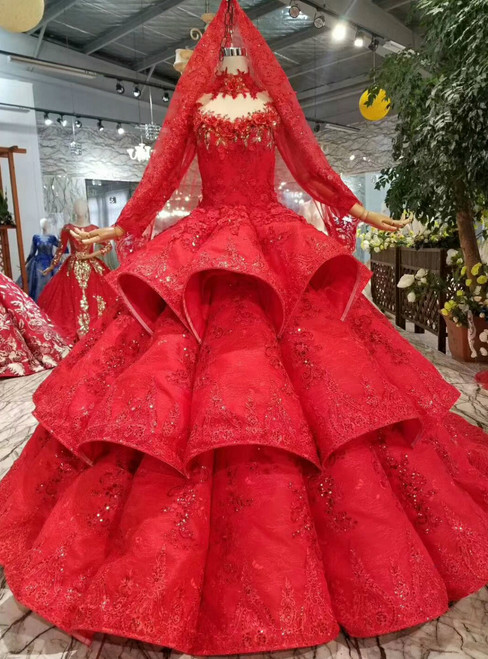 Red Ball Gown Lace Appliques High Neck Long Sleeve Wedding Dress