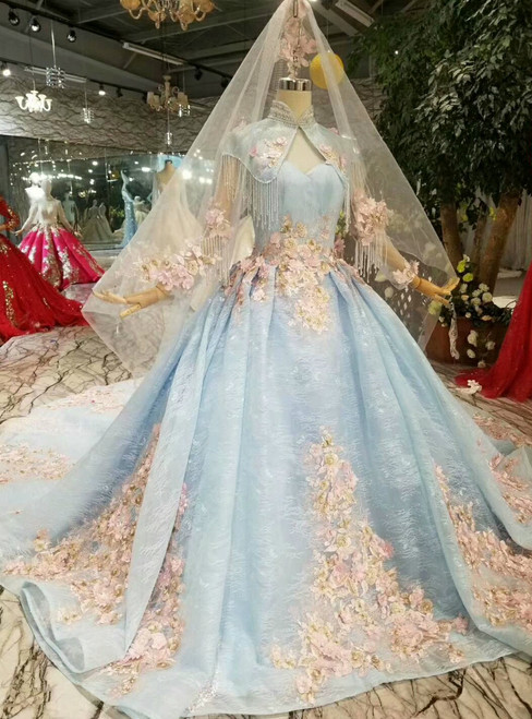 Blue Ball Gown Lace Sweetheart Neck Appliques Wedding Dress Shawl