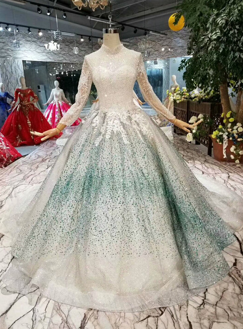 Ball Gown Sequins High Neck Long Sleeve Appliques Wedding Dress