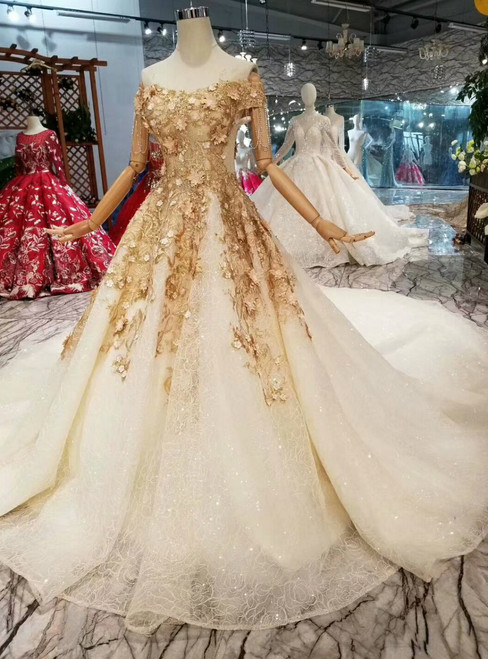 Champagne Ball Gown Tulle Sequins Appliques Off The Shoulder Wedding Dress