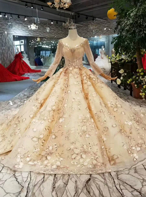 Champagne Ball Gown Tulle Lace Appliques Sequins Long Sleeve Wedding Dress With Beading