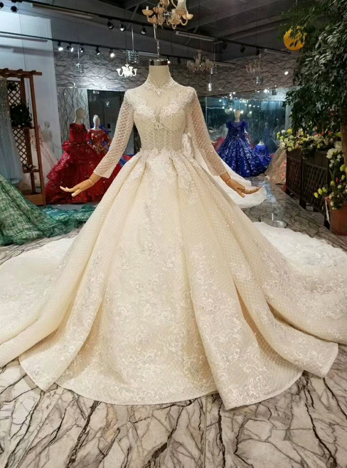 Champagne Ball Gown Tulle Lace Appliques High Neck Long Sleeve Wedding Dress