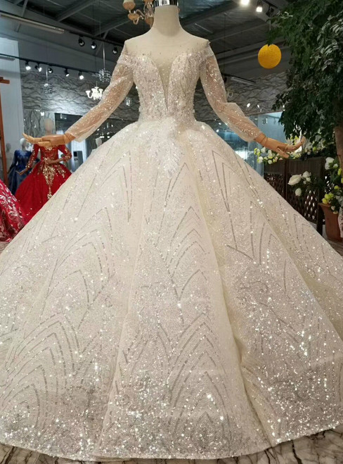 Champagne Ball Gown Tulle Sequins Long Sleeve Wedding Dress With Beading