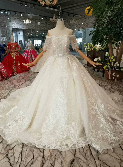 Light Champagne Ball Gown Tulle Sequins Appliques Off The Shoulder Short Sleeve Wedding Dress
