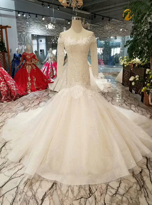 Champagne Tulle Mermaid Long Sleeve Backless Wedding Dress With Beading
