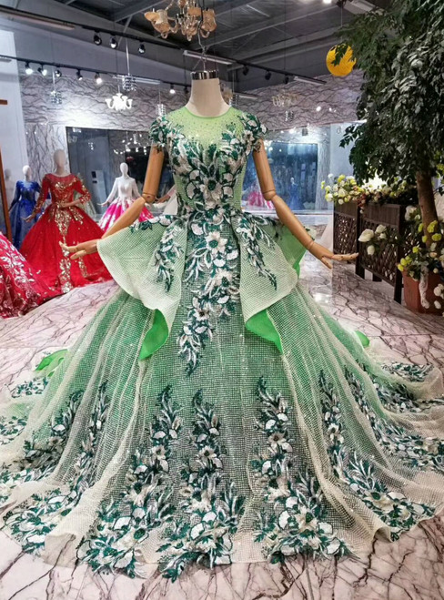 Green Ball Gown Sequins Embroidery Cap Sleeve Backless Wedding Dress