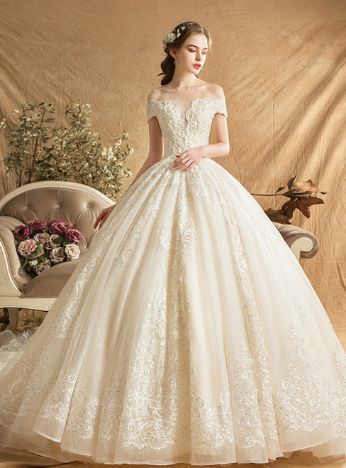 Champagne Ball Gown Tulle Lace Appliques Off The Shoulder Wedding Dress With Train