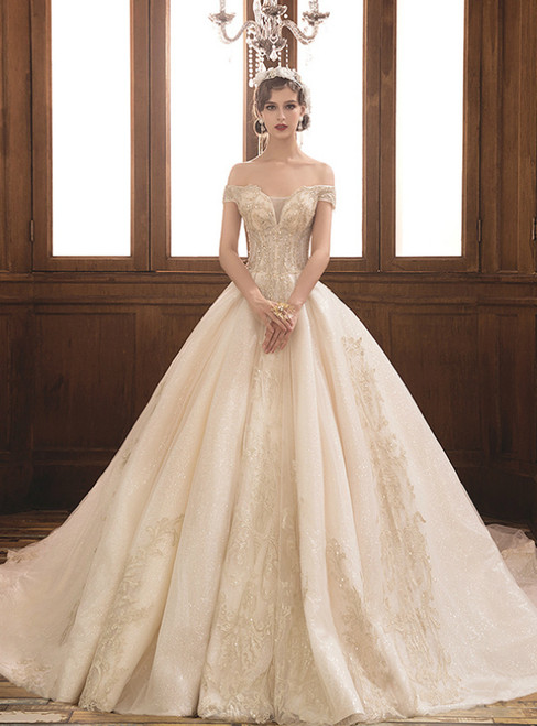 Champagne Court Ball Gown Tulle Appliques Off The Shoulder Wedding Dress With Train