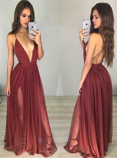 Wine Red Deep V Neck Backless Tulle Long Dress Prom Dress