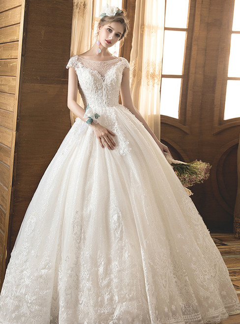 Light Champagne Tulle Lace Bateau Cap Sleeve Backless Wedding Dress