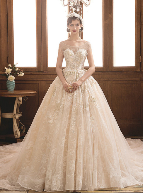 Champagne Tulle Lace Cap Sleeve Backless Wedding Dress With Beading