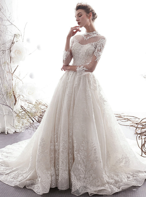 Ivory White Ball Gown Lace Tulle High Neck 3/4 Sleeve Wedding Dress