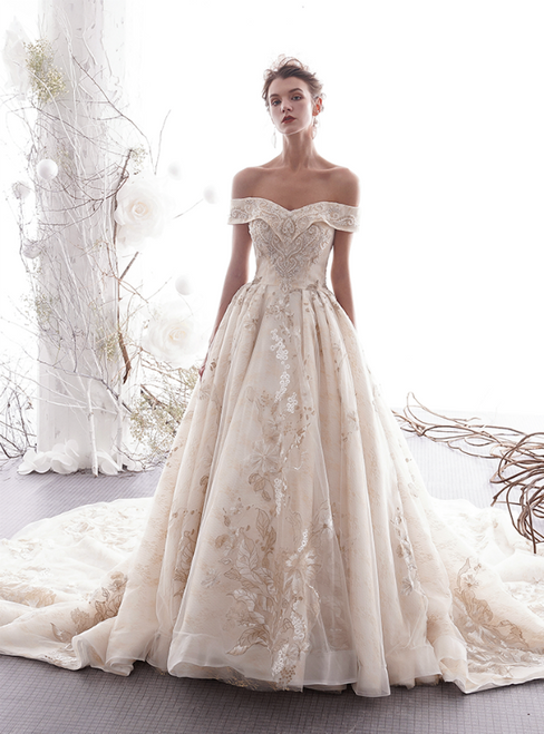 Champagne Tulle Lace Appliques Off the Shoulder Wedding Dress With Train