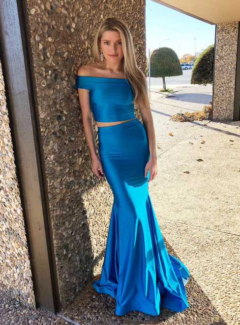 Mermaid Two Piece Satin Off The Shoulder Prom Dress 2019