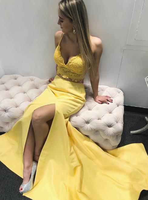 Yellow Satin Lace Two Piece Spaghetti Straps Prom Dress