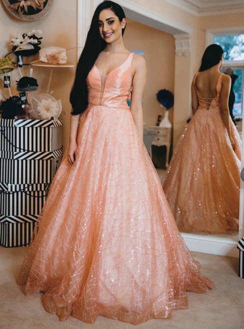 A-Line Pink Tulle Sequins V-neck Backless Long Prom Dress