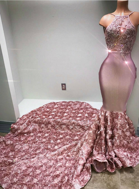 Pink Mermaid Satin Halter See Through Prom Dress With Train